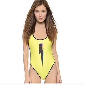 WILDFOX trendy bolt yellow 80's swim suit